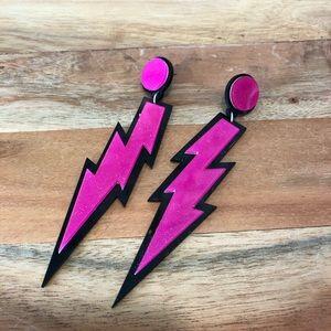Hot Pink shimmer lightening strike earrings